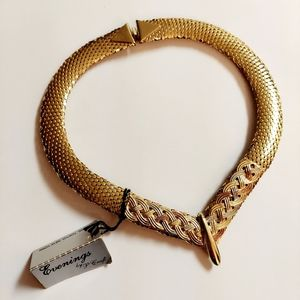 Vintage gold mesh collar choker evening by P Craft